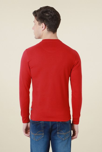 Peter England Red V-Neck T-Shirt