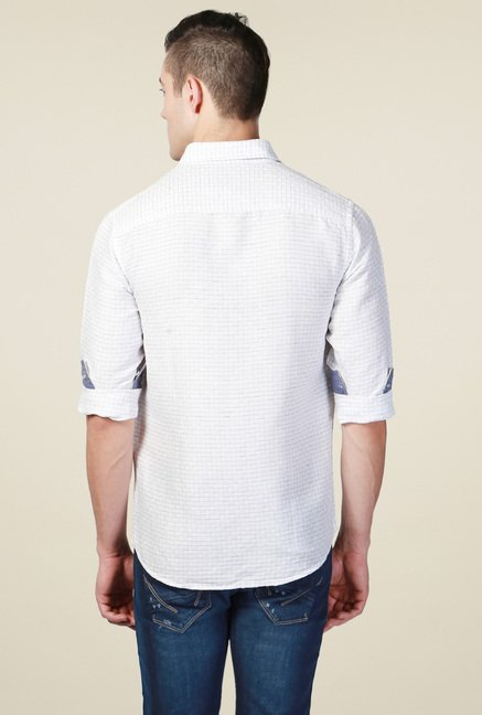 Allen Solly White Comfort Fit Checks Shirt