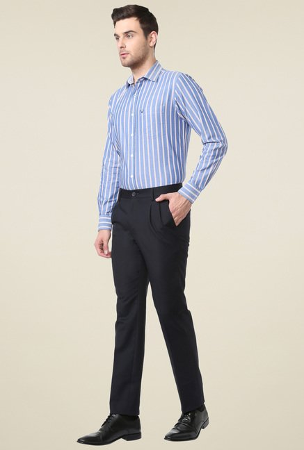 Allen Solly Navy Mid Rise Cotton Solid Trousers