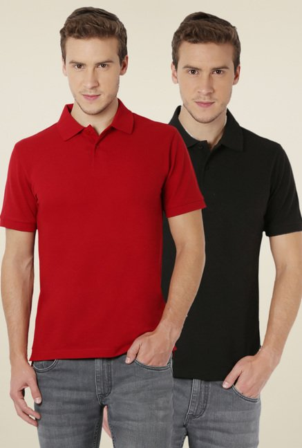 Peter England Black & Red Half Sleeves T-Shirt (Pack of 2)