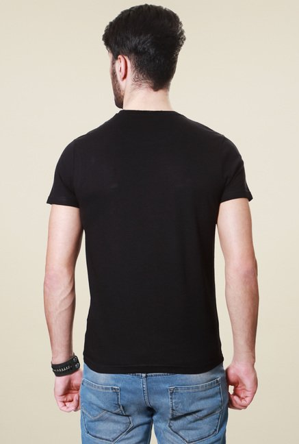 People Black Half Sleeves Printed T-Shirt