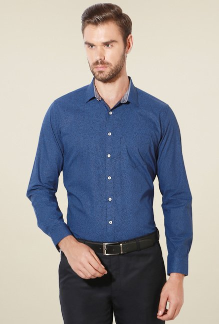 Van Heusen Dark Blue Cotton Slim Fit Shirt