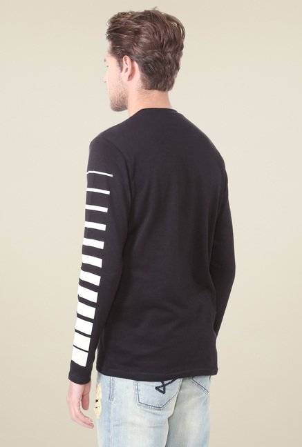 People Black Crew Neck Striped T-Shirt