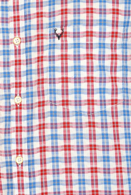 Allen Solly Red & Blue Comfort Fit Checks Shirt