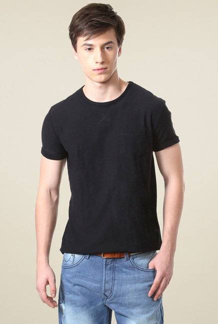 People Black Crew Neck Regular Fit T-Shirt