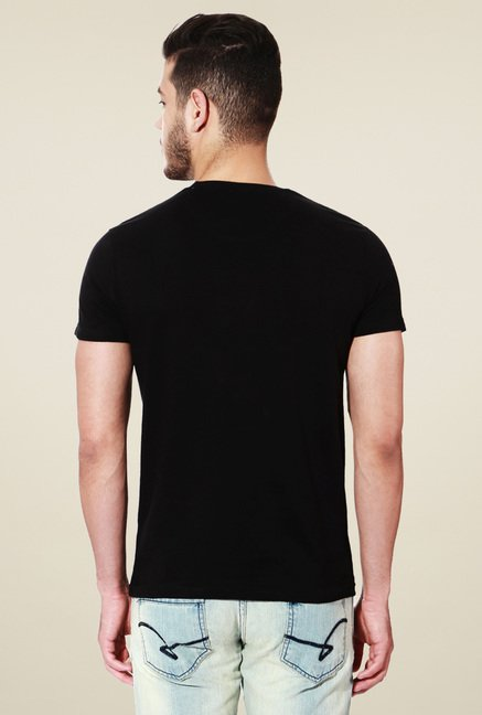 People Black Crew Neck Printed T-Shirt