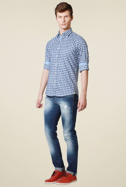 Allen Solly White Checks Cotton Shirt