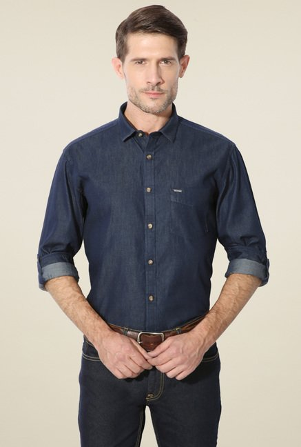 Van Heusen Navy Solid Regular Fit Full Sleeves Shirt