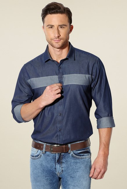 Van Heusen Stone Blue Solid Full Sleeves Cotton Shirt