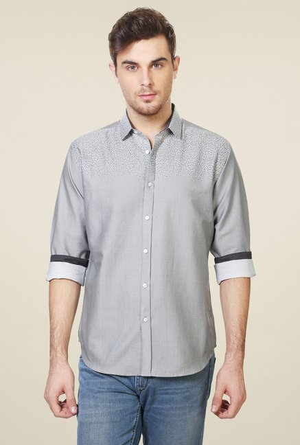 Van Heusen Light Grey Slim Fit Printed Shirt