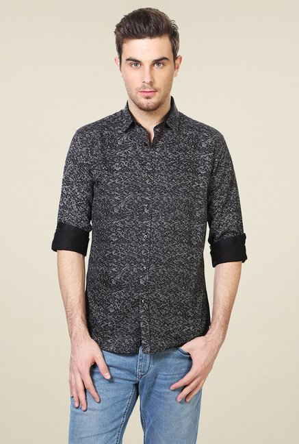 Van Heusen Black Full Sleeves Slim Fit Shirt