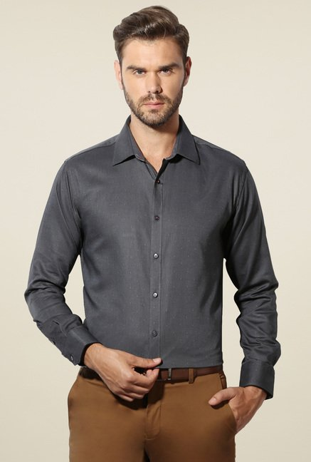 Van Heusen Dark Grey Full Sleeves Cotton Shirt
