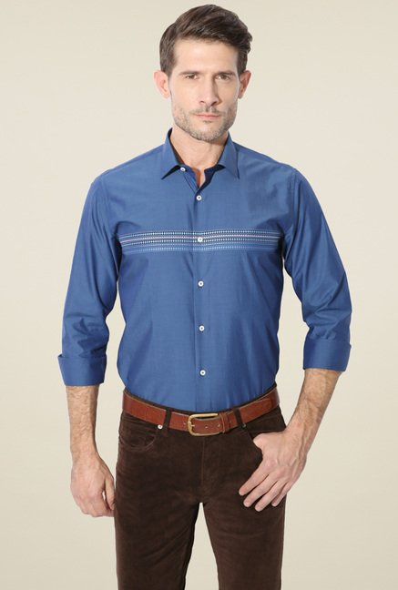 Van Heusen Blue Regular Fit Full Sleeves Shirt