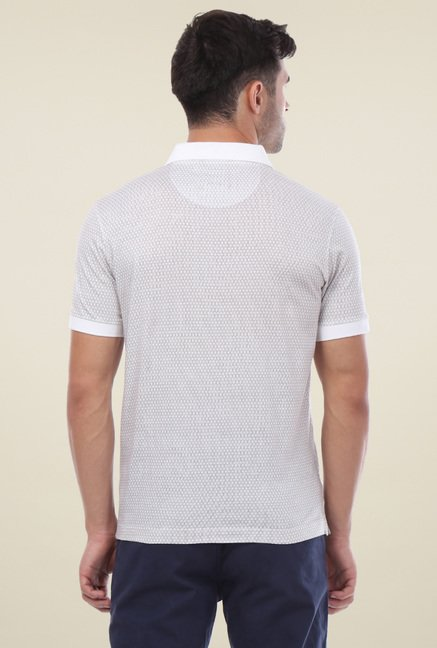 Van Heusen White Regular Fit Printed T-Shirt