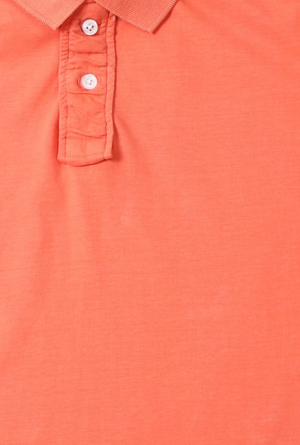 Peter England Orange Solid Half Sleeves T-Shirt
