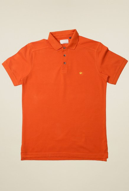Peter England Orange Polo T-Shirt