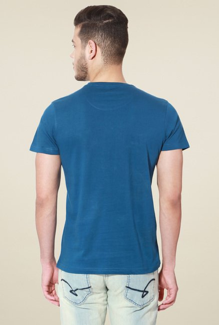 People Blue Crew Neck Printed Cotton T-Shirt
