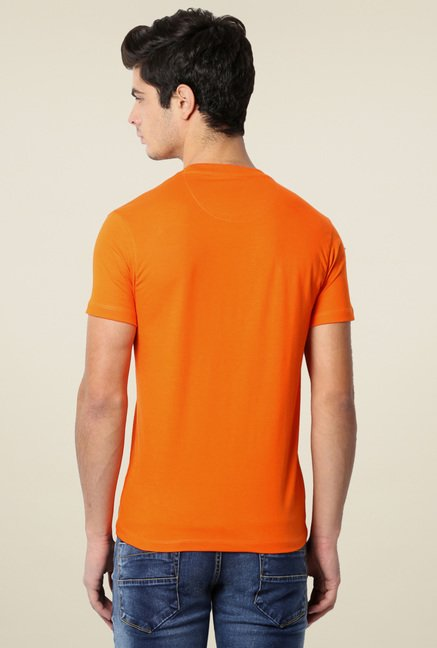Peter England Orange Crew Neck Printed T-Shirt