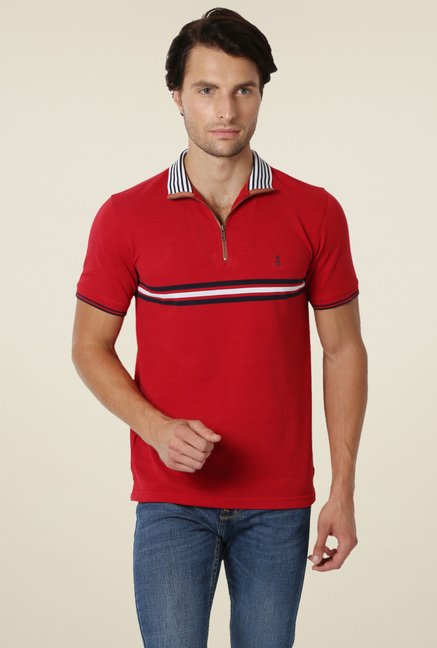 Peter England Red Half Sleeves Slim Fit Solid T-Shirt