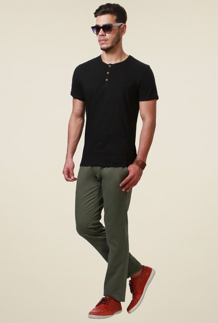 People Black Regular Fit Henley T-Shirt