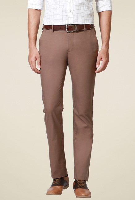 Allen Solly Brown Cotton Comfort Fit Trousers