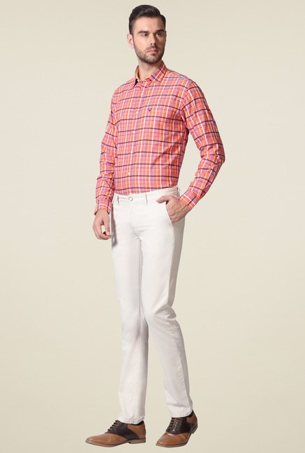 Allen Solly Off-White Slim Fit Mid Rise Trousers