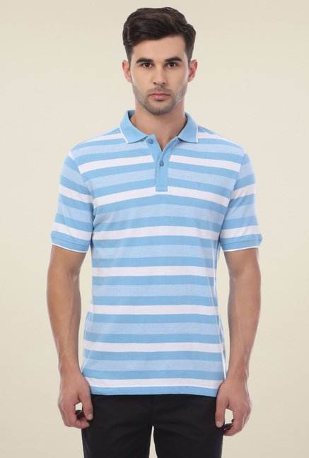 Van Heusen Light Blue Half Sleeves Striped Polo T-Shirt