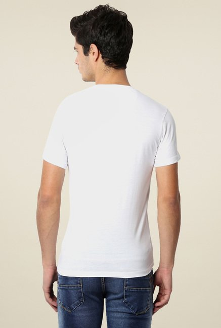 Peter England White Printed Slim Fit T-Shirt