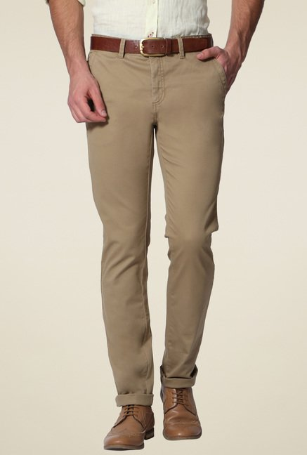 Allen Solly Brown Slim Fit Trousers
