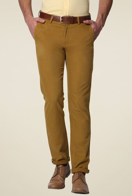 Allen Solly Brown Cotton Comfort Fit Mid Rise Trousers