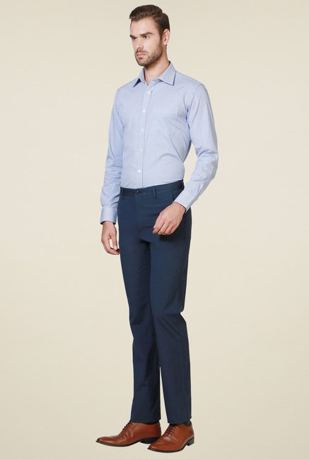 Allen Solly Navy Cotton Mid Rise Trousers