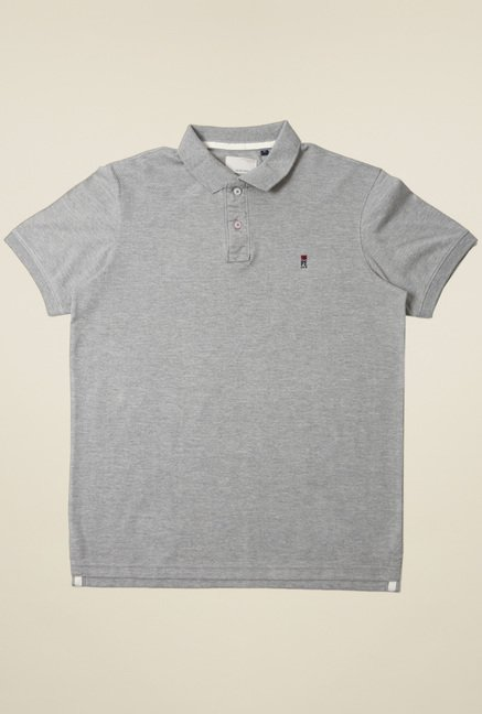 Peter England Grey Slim Fit Polo T-Shirt