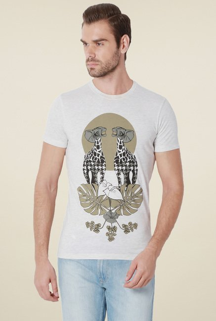 Peter England Off-White Slim Fit T-Shirt