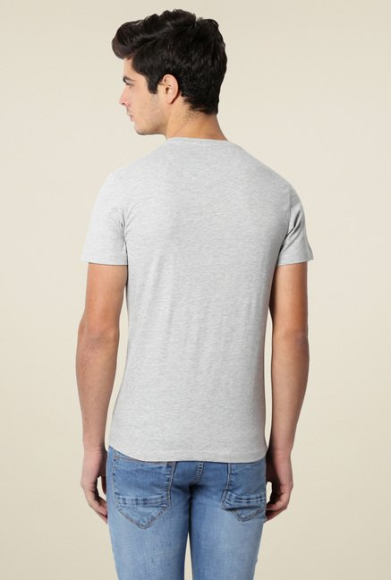 Peter England Grey Slim Fit T-Shirt
