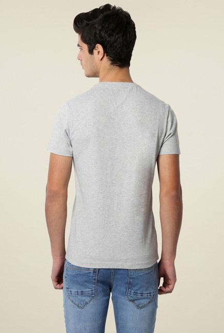 Peter England Grey Slim Fit Crew Neck T-Shirt