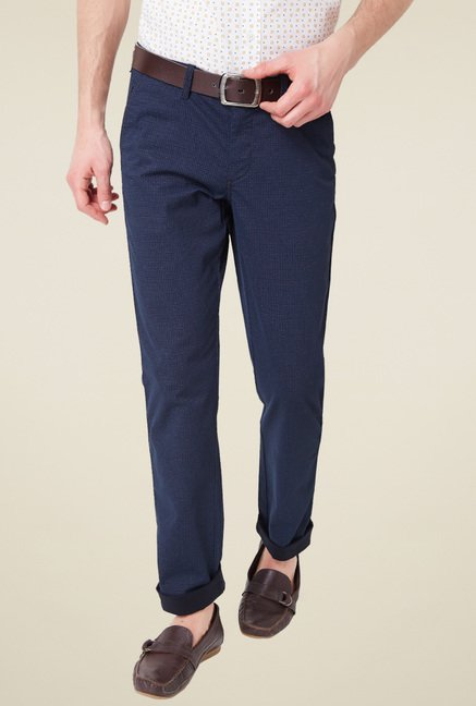Allen Solly Navy Comfort Fit Cotton Mid Rise Trousers