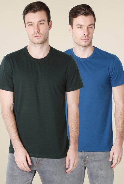 Peter England Blue & Olive Solid T-Shirt (Pack of 2)