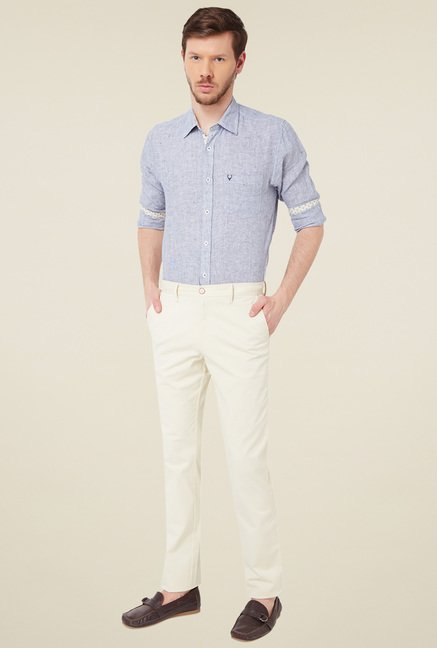Allen Solly Cream Slim Fit Trousers