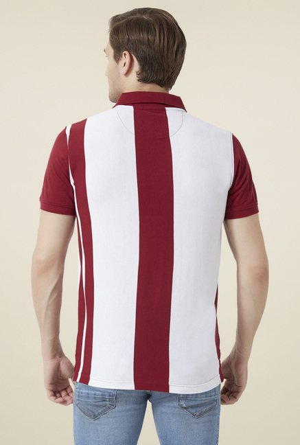 Peter England Maroon & White Striped T-Shirt
