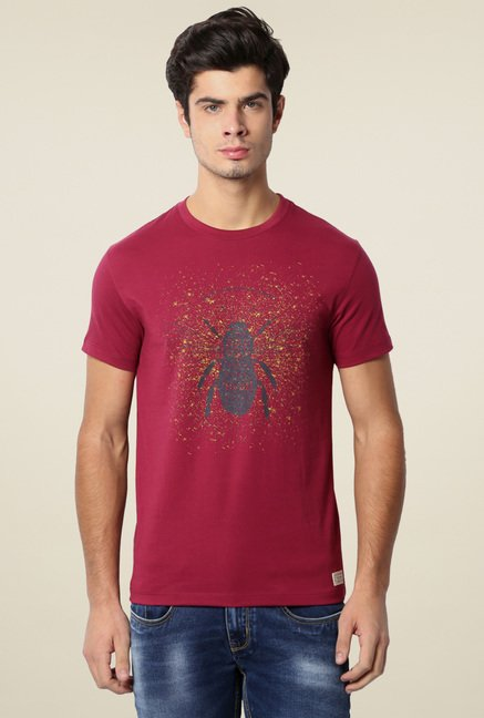 Peter England Maroon Printed T-Shirt