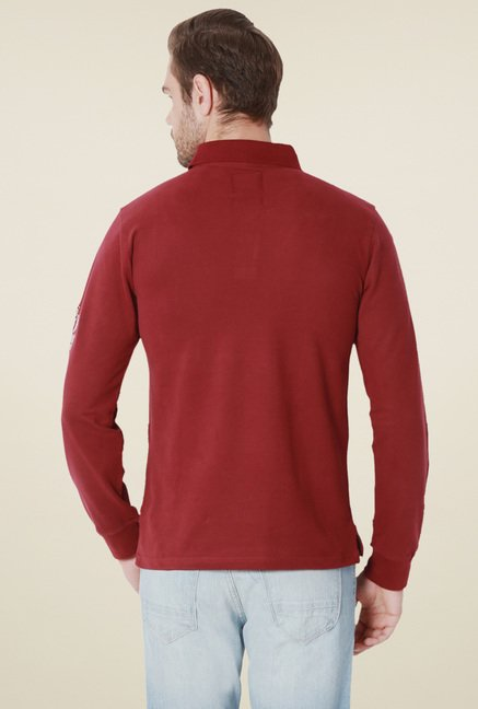 Peter England Maroon Full Sleeves T-Shirt