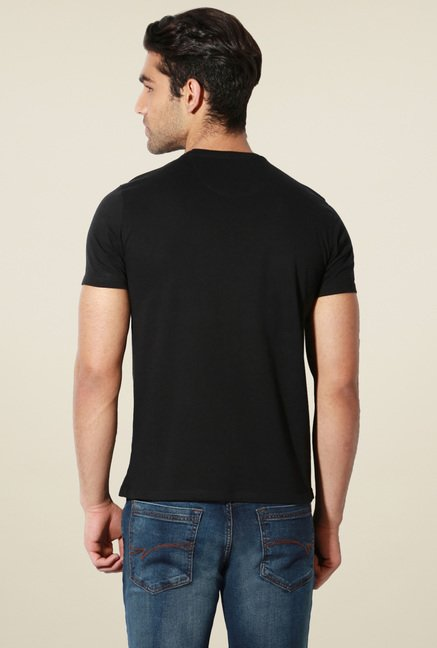 Van Heusen Black Crew Neck Half Sleeves T-Shirt