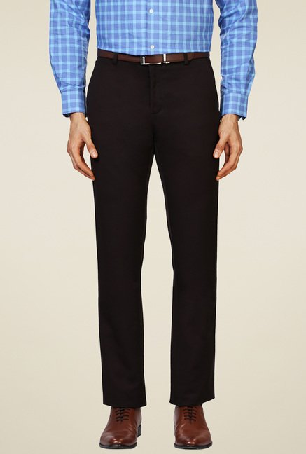 Allen Solly Black Mid Rise Flat Front Trousers