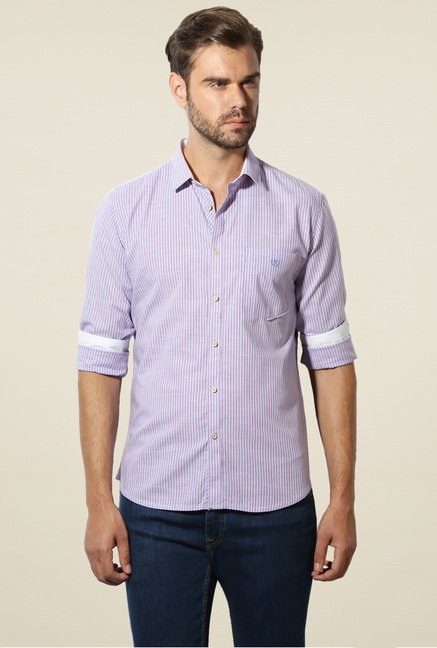 Van Heusen Blue Striped Full Sleeves Cotton Shirt
