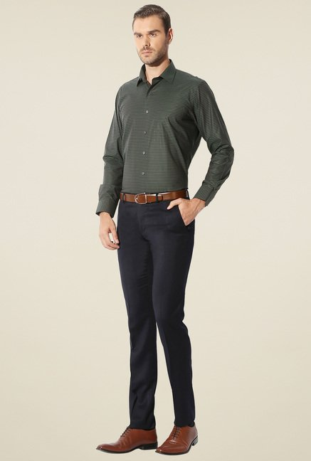 Van Heusen Olive Printed Slim Fit Shirt