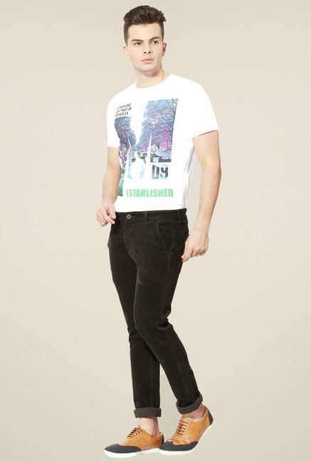 People Black Mid Rise Regular Fit Trousers