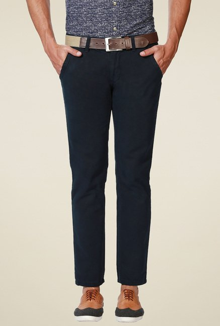 People Navy Cotton Trousers