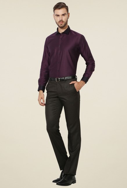 Van Heusen Purple Solid Shirt