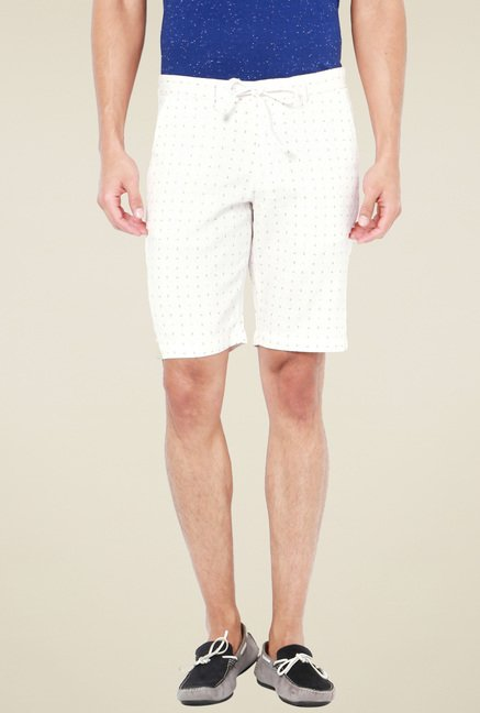 Van Heusen Off-White Mid Rise Printed Shorts