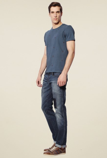 Van Heusen Blue Half Sleeves Cotton T-Shirt
